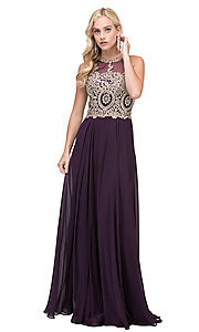 Image of embellished-bodice chiffon long formal prom dress. Style: DQ-2234 Detail Image 7