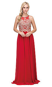 Image of embellished-bodice chiffon long formal prom dress. Style: DQ-2234 Detail Image 4