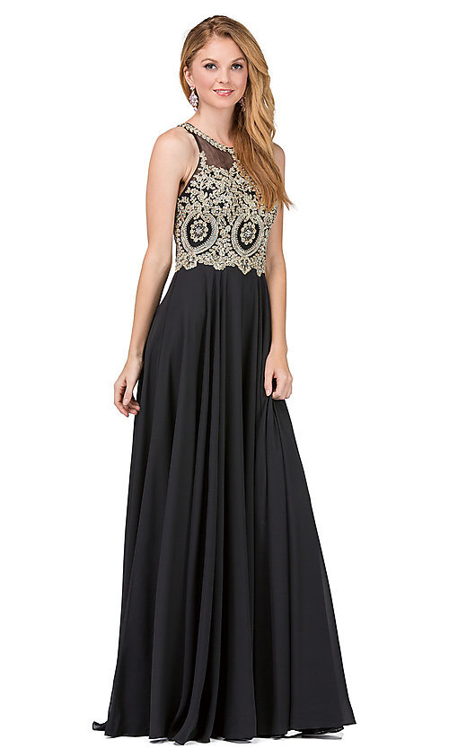 Image of embellished-bodice chiffon long formal prom dress. Style: DQ-2234 Front Image
