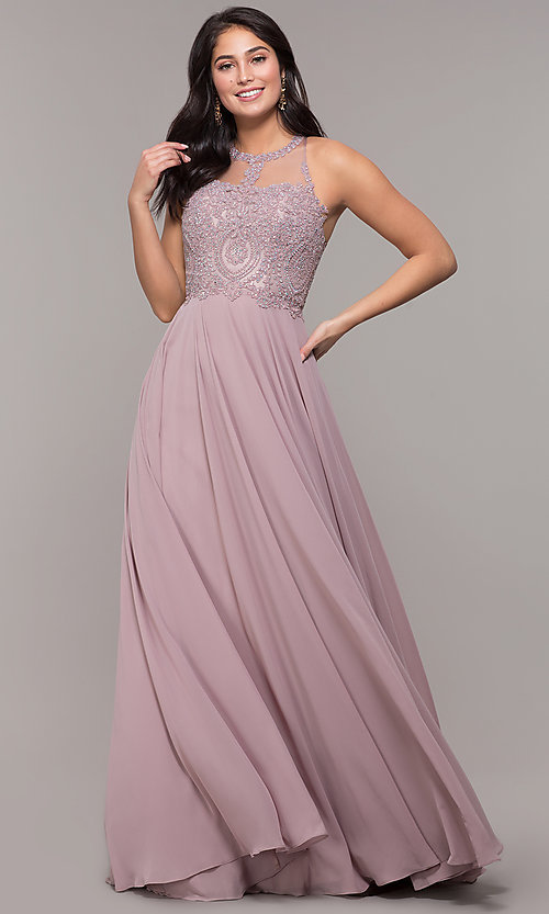 Image of embellished-bodice chiffon long formal prom dress. Style: DQ-2234 Detail Image 5