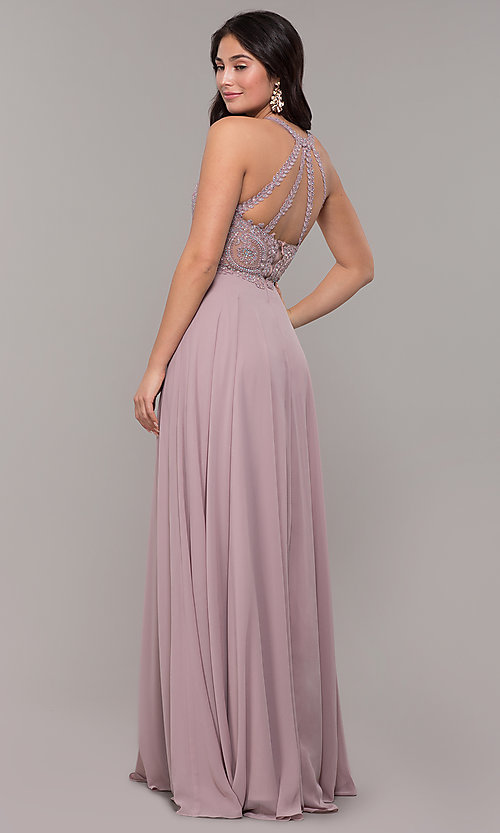 Image of embellished-bodice chiffon long formal prom dress. Style: DQ-2234 Back Image