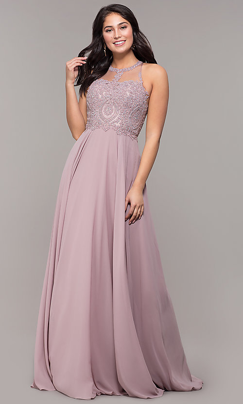 Image of embellished-bodice chiffon long formal prom dress. Style: DQ-2234 Detail Image 3