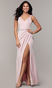 Image of faux-wrap v-neck long formal dress with rhinestones. Style: DQ-2632 Detail Image 3
