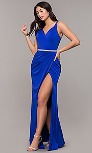 Image of faux-wrap v-neck long formal dress with rhinestones. Style: DQ-2632 Detail Image 6