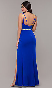 Image of faux-wrap v-neck long formal dress with rhinestones. Style: DQ-2632 Detail Image 7