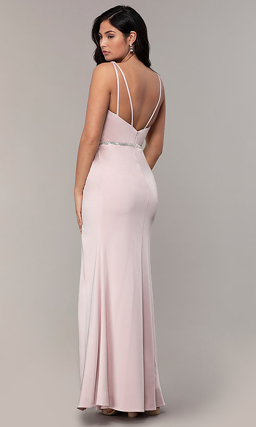 Image of faux-wrap v-neck long formal dress with rhinestones. Style: DQ-2632 Detail Image 4