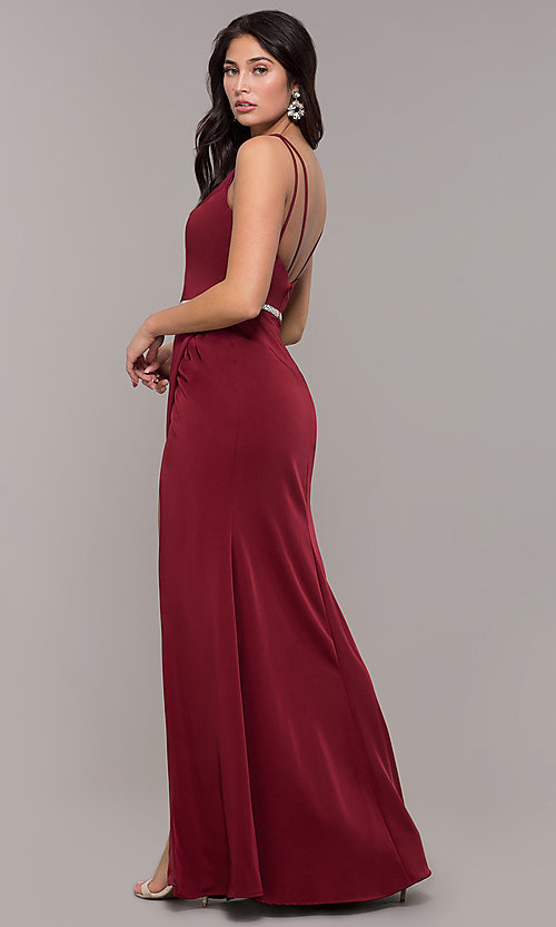 Image of faux-wrap v-neck long formal dress with rhinestones. Style: DQ-2632 Back Image