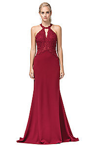 Image of long mermaid prom dress with embroidered bodice. Style: DQ-2787 Detail Image 7
