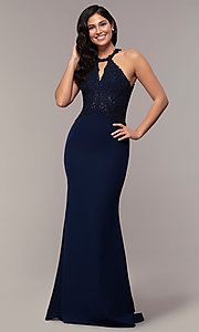 Image of long mermaid prom dress with embroidered bodice. Style: DQ-2787 Front Image