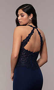 Image of long mermaid prom dress with embroidered bodice. Style: DQ-2787 Detail Image 2