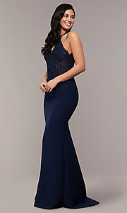 Image of long mermaid prom dress with embroidered bodice. Style: DQ-2787 Detail Image 3