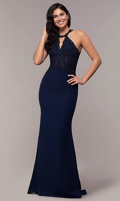 Image of long mermaid prom dress with embroidered bodice. Style: DQ-2787 Detail Image 4