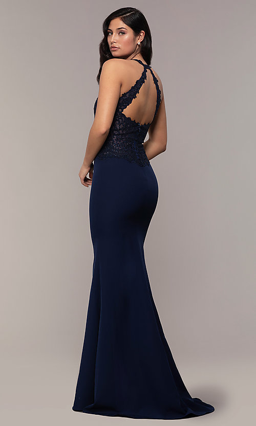Image of long mermaid prom dress with embroidered bodice. Style: DQ-2787 Back Image