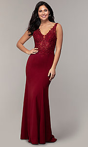 Image of sheer-lace-bodice long formal dress with train. Style: DQ-2781 Front Image