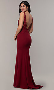 Image of sheer-lace-bodice long formal dress with train. Style: DQ-2781 Back Image