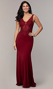 Image of sheer-lace-bodice long formal dress with train. Style: DQ-2781 Detail Image 3