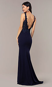 Image of sheer-lace-bodice long formal dress with train. Style: DQ-2781 Detail Image 5