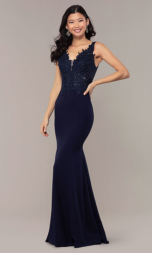 Image of sheer-lace-bodice long formal dress with train. Style: DQ-2781 Detail Image 4