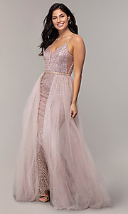 Image of long v-neck glitter-mesh formal dress with straps. Style: DQ-2595 Front Image