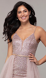 Image of long v-neck glitter-mesh formal dress with straps. Style: DQ-2595 Detail Image 1