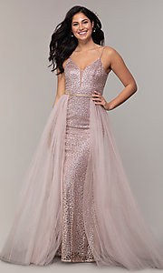 Image of long v-neck glitter-mesh formal dress with straps. Style: DQ-2595 Detail Image 3
