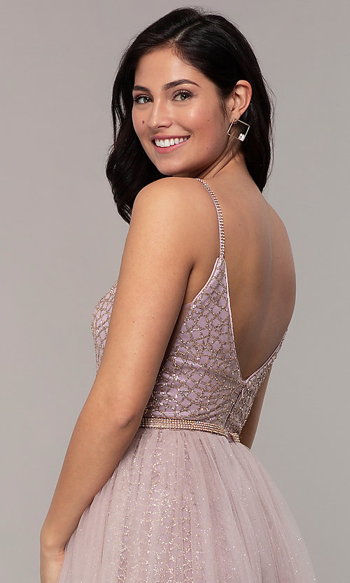 Image of long v-neck glitter-mesh formal dress with straps. Style: DQ-2595 Detail Image 2