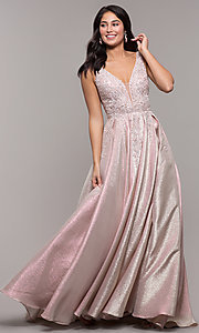 Image of sparkly long formal prom dress with pockets. Style: DQ-2747 Front Image