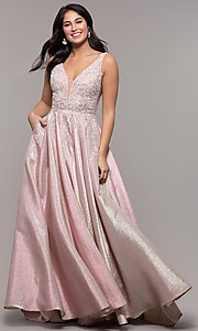 Image of sparkly long formal prom dress with pockets. Style: DQ-2747 Detail Image 3
