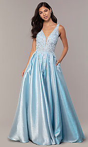 Image of sparkly long formal prom dress with pockets. Style: DQ-2747 Detail Image 4