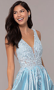 Image of sparkly long formal prom dress with pockets. Style: DQ-2747 Detail Image 6