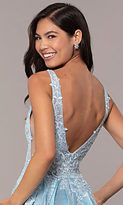 Image of sparkly long formal prom dress with pockets. Style: DQ-2747 Detail Image 7