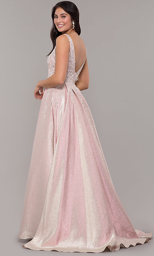 Image of sparkly long formal prom dress with pockets. Style: DQ-2747 Back Image