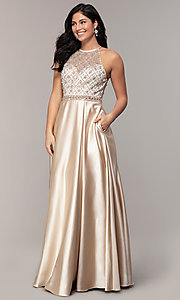 Image of sheer-beaded-bodice long formal prom dress. Style: DQ-2744 Detail Image 3