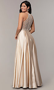 Image of sheer-beaded-bodice long formal prom dress. Style: DQ-2744 Detail Image 4