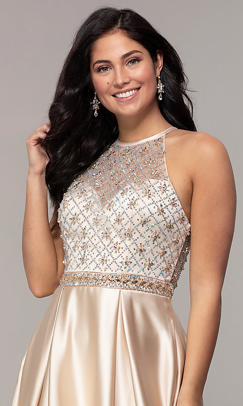 Image of sheer-beaded-bodice long formal prom dress. Style: DQ-2744 Detail Image 5