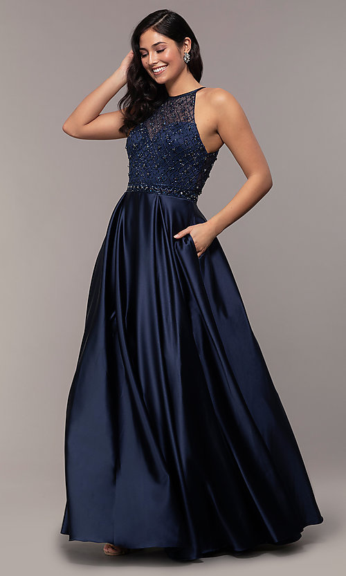 Image of sheer-beaded-bodice long formal prom dress. Style: DQ-2744 Front Image