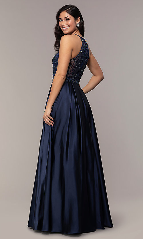 Image of sheer-beaded-bodice long formal prom dress. Style: DQ-2744 Back Image