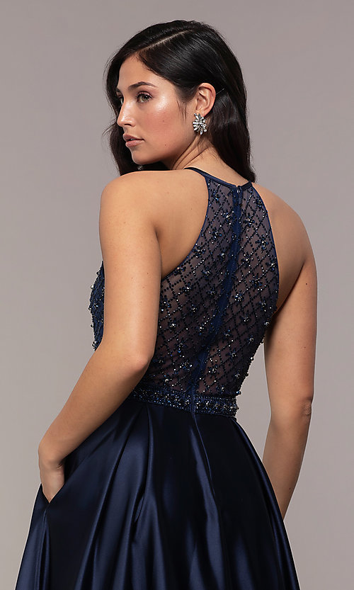 Image of sheer-beaded-bodice long formal prom dress. Style: DQ-2744 Detail Image 2
