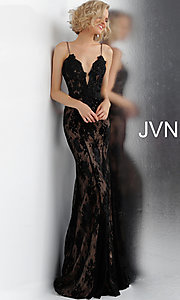 Image of JVN by Jovani embroidered long formal prom gown. Style: JO-JVN-JVN66971 Detail Image 3