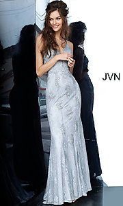 Image of JVN by Jovani embroidered long formal prom gown. Style: JO-JVN-JVN66971 Detail Image 7