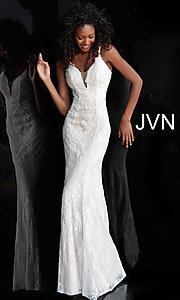 Image of JVN by Jovani embroidered long formal prom gown. Style: JO-JVN-JVN66971 Detail Image 1