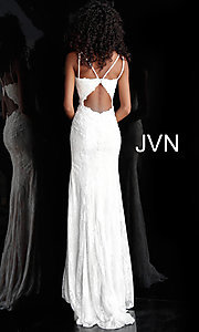 Image of JVN by Jovani embroidered long formal prom gown. Style: JO-JVN-JVN66971 Detail Image 2