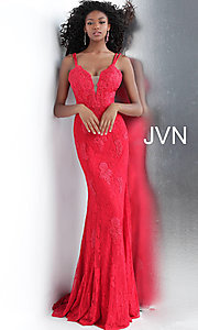 Image of JVN by Jovani embroidered long formal prom gown. Style: JO-JVN-JVN66971 Front Image