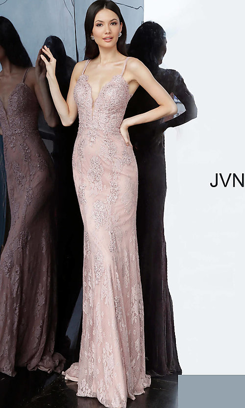 Image of JVN by Jovani embroidered long formal prom gown. Style: JO-JVN-JVN66971 Detail Image 5