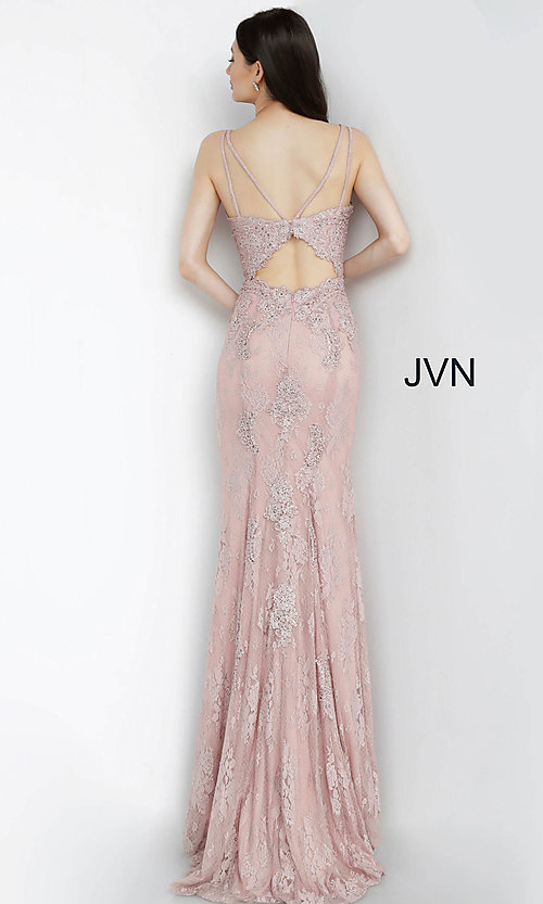 Image of JVN by Jovani embroidered long formal prom gown. Style: JO-JVN-JVN66971 Detail Image 6