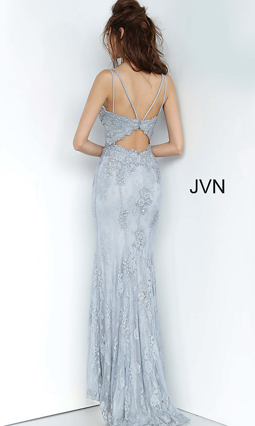 Image of JVN by Jovani embroidered long formal prom gown. Style: JO-JVN-JVN66971 Detail Image 8