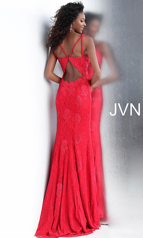 Image of JVN by Jovani embroidered long formal prom gown. Style: JO-JVN-JVN66971 Back Image