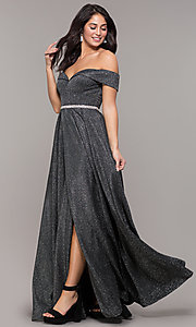 Image of faux-wrap off-the-shoulder long sparkly prom dress. Style: DQ-2824 Detail Image 3