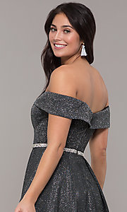 Image of faux-wrap off-the-shoulder long sparkly prom dress. Style: DQ-2824 Detail Image 2
