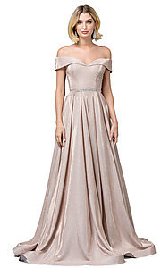 Image of faux-wrap off-the-shoulder long sparkly prom dress. Style: DQ-2824 Front Image